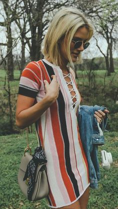 Striped sweater dress with lace up front. Boho fashion. Fall 2016.