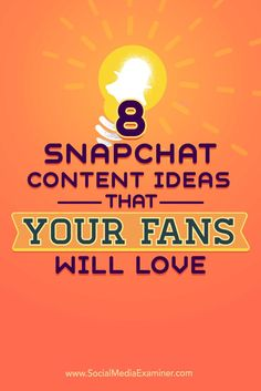 Do you want to use Snapchat?  Are you struggling to come up with content ideas?  In this article, you'll discover eight ways to create Snapchat content that brings your account to life. Via @smexaminer.
