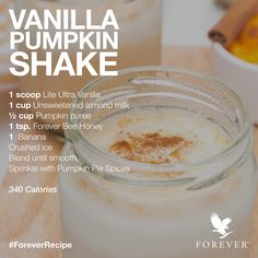 Vanilla Pumpkin Protein Shake Recipe using Forever Living Products Lite Ultra Vanilla Protein Powder and Forever Bee Honey Shop now for this and more products! Pumpkin Protein Shake, Pumpkin Shake, Protein Shake Recipes, Pumpkin Pie Spice, Weight Loss Protein Shakes, Clean9, Forever Aloe, Vanilla Protein Powder, Unsweetened Almond Milk