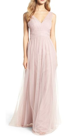 illusion gown by Hayley Paige Occasions. A gathered-tulle gown is designed for universal flattery with a pleated bodice, crisscrossed detail at the waist and ...