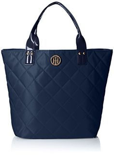 Tommy Hilfiger Quilted Shopper With Pouch Shoulder Bag, Navy, One Size -- Find out more about the great product at the image link.
