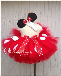 Minnie Mouse Tutu, Baby Tutu and puff headband set, 2T-5T, Photo Prop, Childrens Toddler Infant Tutu, Halloween Costume, Birthday, Mickey. $48.00, via Etsy.