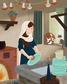 Our Lady in the Kitchen Catholic Art, Religious Art, Naive, Pastel Background Wallpapers, Apple Logo Wallpaper Iphone, Bible Object Lessons, Jesus Mary And Joseph, Girls Bible, Drawing Wallpaper