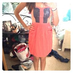 Pink color block strapless dress Pink, gray, and orange color block, breezy strapless dress! Is pretty snug and zips in the back. Dresses Strapless