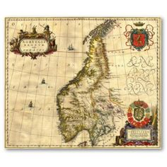 Ancient Map of Norway Posters