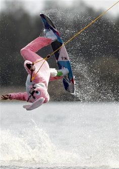 Easter Bunny wakeboarding in Germany