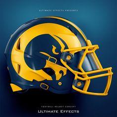 Rams helmet concept design by ultimate effects Cool Football Helmets, Football Jerseys, Football Players, Cbs Sports, Sports Logo, Helmet Logo, Native American Paintings, Football Images, La Rams