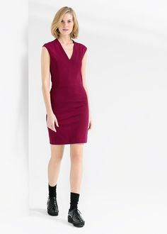 Fitted V-neck dress, Mango