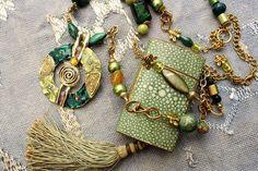 Necklace pendant boho dual rows mixed materials par MesOdalisques