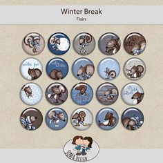 SoMa Design: Winter Break - Flairs Digital Scrapbooking, Kit, Personalized Items, Winter, Color, Design, Style, Winter Time, Colour