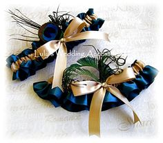 Wedding garter set peacock weddings bridal garters by All4Brides, $35.00