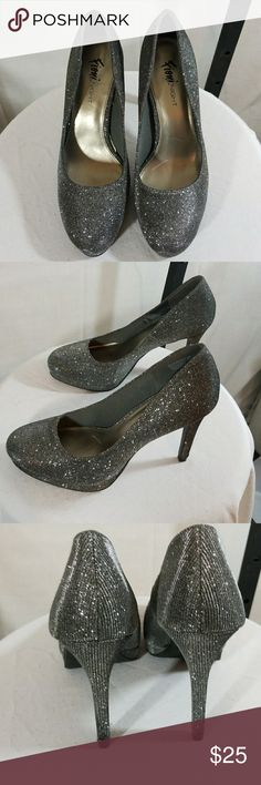 "Fiona Night Gray Sparkles Heels 4 3/8"" heel Fiona Night Shoes Heels"