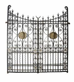 19TH C WROUGHT IRON AND BRONZE DRIVEWAY GATES - UK Architectural Heritage