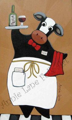 Moo Moo Merlot - Whimsical Cow & Wine Painting on Wood by Annie Lane.  See this fun cow and many other Whimsical Animal Art for sale @ https://www.etsy.com/shop/AnnieLane