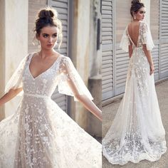 Womens Fashion V Neck Short Sleeve Lace Vintage Gown Evening Wedding Party Dress,Robe. Autumn Womens Fashion V Neck Short Sleeve Lace Vintage Gown Evening Wedding Party Dress,Robe de mariée Western Wedding Dresses, Dream Wedding Dresses, Wedding Dress Styles, Wedding Dress For Short Women, Autumn Wedding Dresses, Wedding Reception Dresses, Off White Wedding Dresses, Women's Dresses, Bridal Dresses