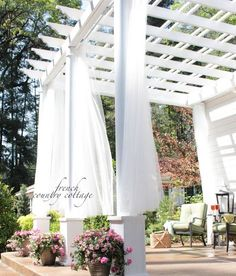 DIY Front Porch Pergola! White, Airy and Ethereal.....See More at thefrenchinspiredroom.com