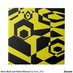 Retro Black and Yellow Abstract Small Square Tile