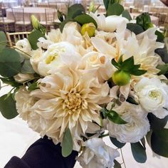 Winter white bridal bouquet by Buen Gusto Flowers at California Flower Mall downtown Los Angeles wholesale flower market Winter Wedding Flowers, Downtown Los Angeles, Flower Market, White Bridal, Winter White, Mall, Bouquet, California, Table Decorations