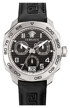 Men's Versace 'Dylos' Chronograph Leather Strap Watch