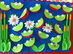 best Ideas for spring art projects for kids preschool classroom Kids Crafts, Summer Crafts, Projects For Kids, Art Projects, Kindergarten Art, Preschool Crafts, Frogs Preschool, Frog Bulletin Boards, March Bulletin Board Ideas