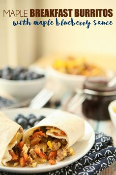 These breakfast burritos are not your average breakfast burritos. Maple sausage, potato, sweet potato, and blueberry compote combine for an amazing flavor! Easy Breakfast Muffins, Make Ahead Breakfast Burritos, Vegetarian Breakfast, Sausage Breakfast, Breakfast Recipes, Breakfast Ideas, Morning Food, Blueberry Compote, Free Meal