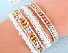 Macramé et Bracelet perlé Wrap - nuances de Metallics