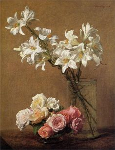Roses and Lilies   Henri Fantin-Latour   1888  oil canvas  Private Collection