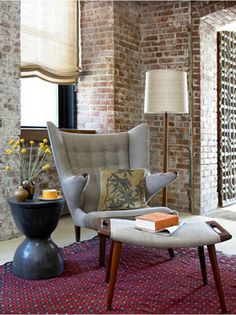 Exposed brick and retro furniture