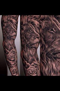 Epic lion sleeve by Jun Cha #JunCha #lion #tattoo #rose