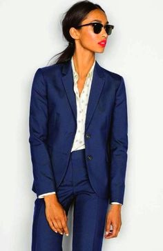 We love this navy blue business suit!