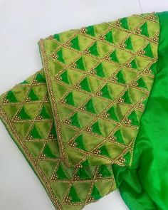 Tissue embossed over silk with cutwork to ive a look. Cutwork Blouse Designs, Wedding Saree Blouse Designs, Simple Blouse Designs, Stylish Blouse Design, Blouse Neck Designs, Hand Embroidery Designs, Blouse Styles, Maggam Work Designs, Hand Work Blouse Design