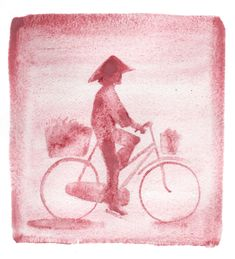Vietnamese cyclist. Watercolour on paper.