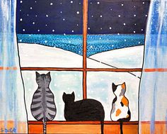 Winter Snow Cats Tortie Tabby Print Shelagh by AliceinParis, $20.00  Looks like my Xena - Calico at the end