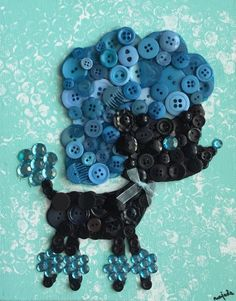 French Poodle  Button Art  8x10 Canvas Board by NaptimeButtons