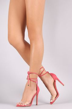 Suede Open Toe Lucite Strap Rope Lace Up Stiletto Heel