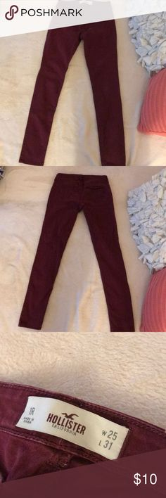 Burgundy, Hollister Skinny Pants These are burgundy skinny pants in size 1R. They are used and I am selling because they do not fit. Hollister Pants Skinny
