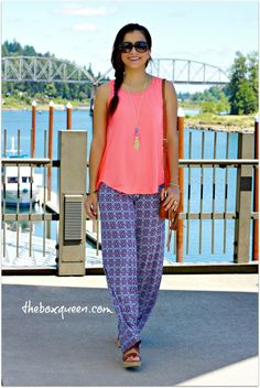 PAPERMOON Tesi Woven Split Back Knit Tank ($44) +  GILLI Chandler Printed Wide Leg Pant ($48)
