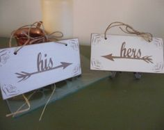 Wedding Chair Signs, His and Hers Arrows Sign, Shabby Chic Sign, Wooden Sign, Wedding Decor
