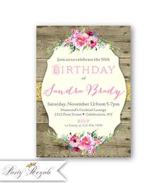 Rustic Western Birthday Invitations For Women Barn Party Her 40th 50th 60th Birthdays Or Any Age Woman