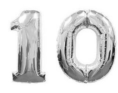 "Giant 40"" inch 10 Balloon Number, Silver, Birthday Balloon, Birthday Party, 10th Birthday, Anniversary, Balloon Banner, Photo Prop"