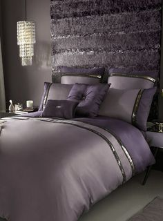 Kylie at Home Amethyst Sequin trim bed linen