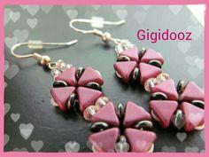 Rose pink pinwheel earrings.