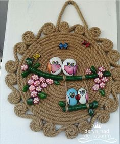 Womens Clothes Online Sale India even Spring Summer 2019 Str Jute Crafts, Diy Home Crafts, Clay Crafts, Diy Crafts For Kids, Kids Diy, Decor Crafts, Crochet Wall Art, Crochet Wall Hangings, Rock Crafts