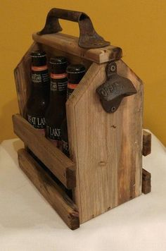 Wood Craft Beer Carrier. The perfect gift for the beer enthusiast in your life or to display your beer selection at parties.