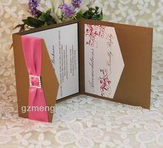 EA307 --bronze pocketfold wedding invitation with box