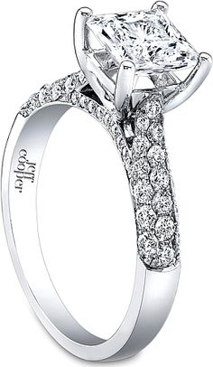 Jeff Cooper Triple Row Pave Diamond Engagement Ring- since1910.com