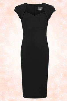 robe-crayon-noire-pencil-longueur-sous-le-genou-vintage-annee-50