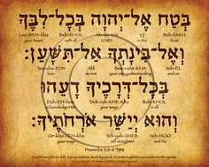 Proverbs 3:5-6 Hebrew Poster Trust in the LORD