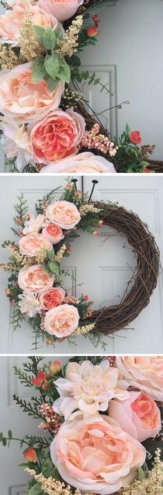 Summer Wreaths, Spring Front Door Wreath, Natural Front Door Wreath