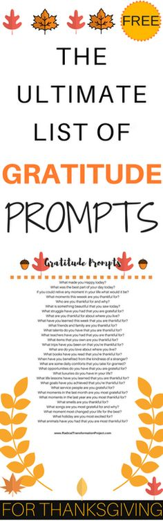 Thanksgiving Gratitude Prompts - Radical Transformation Project